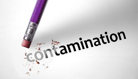 Eraser deleting the word Contamination Stock Photo - 29561690