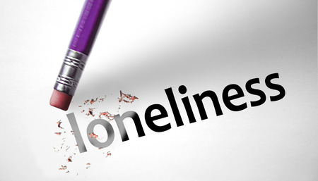 abandonment: Eraser deleting the word Loneliness
