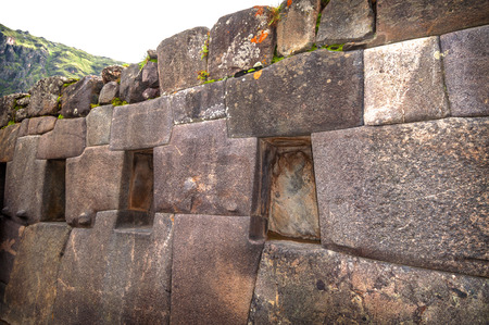 incan: Ollantaytambo, old Inca fortress in the Sacred Valley in the Andes mountains of Cusco, Peru, South America