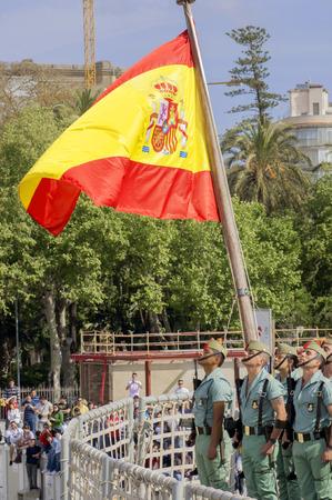 semana santa: MALAGA, SPAIN - APRIL 09: Spanish Legionarios march on a military parade in Semana Santa (Easter) with Mena Christ, April 09, 2009 in Malaga, Spain