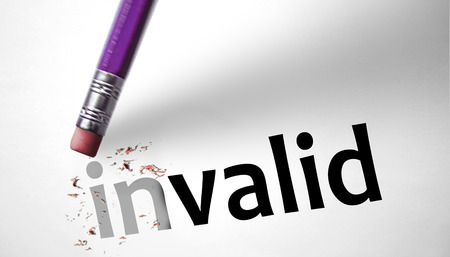 valid:  Eraser changing the word Invalid for Valid