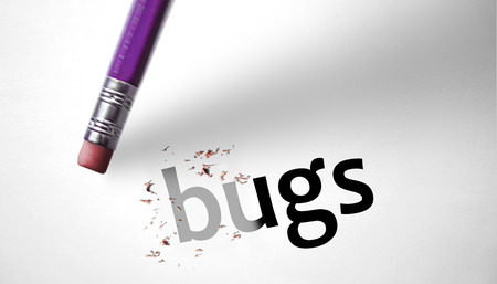deleting: Eraser deleting the word Bugs  Stock Photo