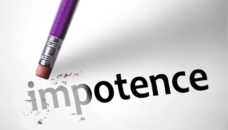dysfunction: Eraser deleting the word Impotence