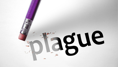 deleting: Eraser deleting the word Plague