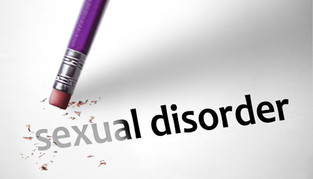 deleting: Eraser deleting the concept Sexual Disorder Stock Photo