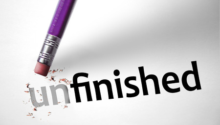 uninspired: Eraser changing the word Unfinished for Finished
