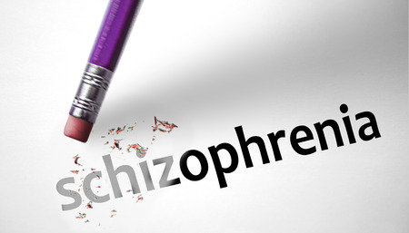 Eraser deleting the word Schizophrenia  photo