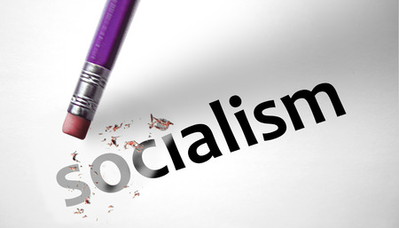 Eraser deleting the word Socialism  photo