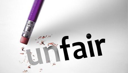 law breaking: Eraser changing the word unfair for fair