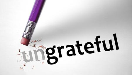 positiveness: Borrador de cambiar la palabra para agradecer Ungrateful Foto de archivo