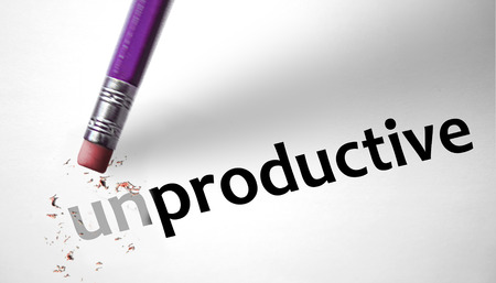 Eraser changing the word Unproductive for Productive  Stock Photo