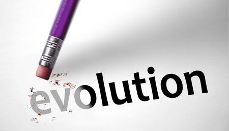 creationism: Eraser deleting the concept Evolution