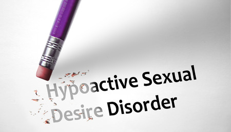 impotent: Eraser deleting the concept Hypoactive Sexual Desire Disorder HSDD  Stock Photo