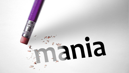 narcissist: Eraser deleting the word Mania  Stock Photo