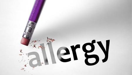Eraser deleting the word Allergy  photo