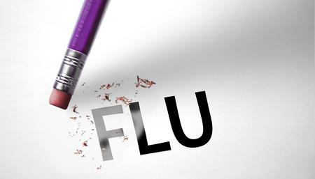 sniffles: Eraser deleting the word Flu  Stock Photo