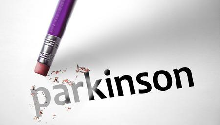 Eraser deleting the word Parkinson  photo