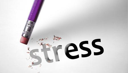 Gum het wissen van het woord Stress Stockfoto