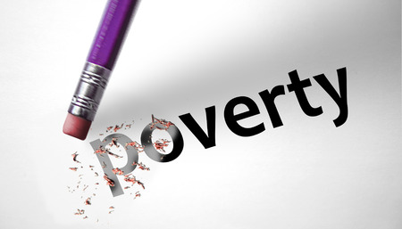 deleting: Eraser deleting the word Poverty