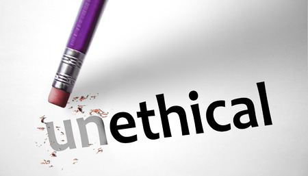 unethical: Eraser changing the word Unethical for Ethical