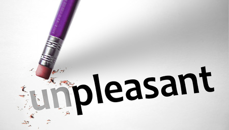 pleasant: Eraser changing the word Unpleasant for Pleasant