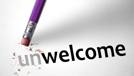 unwelcome: Eraser changing the word Unwelcome for Welcome