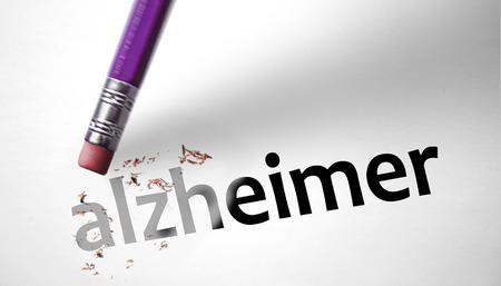 losing brain function: Eraser deleting the word Alzheimer