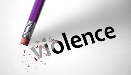 deleting: Eraser deleting the word Violence  Stock Photo