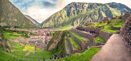 pisac: Ollantaytambo, old Inca fortress in the Sacred Valley in the Andes mountains of Cusco, Peru, South America