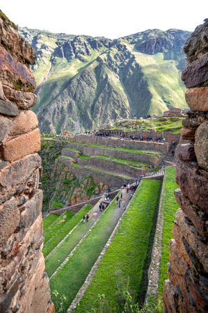 sacred valley: Ollantaytambo, old Inca fortress in the Sacred Valley in the Andes mountains of Cusco, Peru, South America