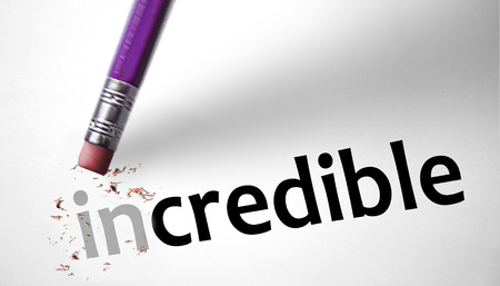 credible: Eraser changing the word Incredible for Credible