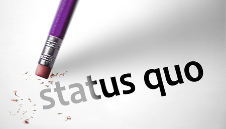disruptive: Eraser deleting the concept Status Quo Stock Photo