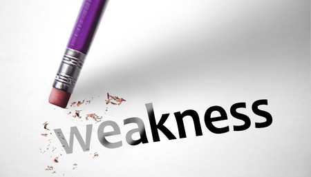 Eraser deleting the word weakness