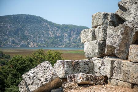 mugla: view of amphitheater ruins in Kaunos ancient city (Turkey)
