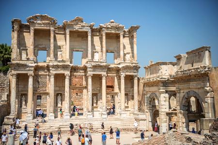 turkiye: EPHESUS, TURKEY - AUG 01: visitors in Curetes street on August 01, 2014 in Ephesus, Turkey. Ancient Ephesus contains the largest collection of Roman ruins in the eastern Mediterranean