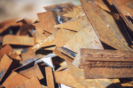 junk: Closeup pile of scrap metal junk garbage
