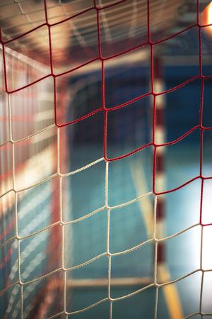 terrain de handball: football ou de handball aire de jeux. Porte net Banque d'images