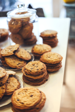 white backing: Delicious cookies in a bakery shop