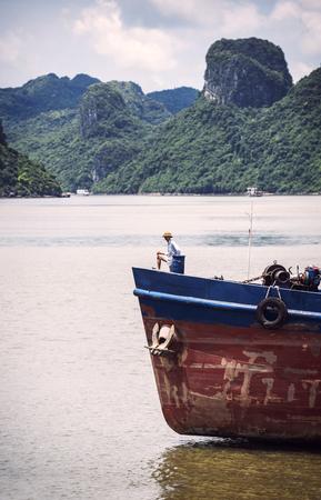 world natural heritage: Halong, Vietnam January 15: Boat on Ha Long Bay.Halong Bay, a world natural heritage in Vietnam on January 15, 2014
