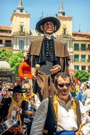 giants: Segovia, Spain - June 29, 2014: Giants and big heads (Gigantes y Cabezudos) in Segovia Festival on June 29, 2014 in Segovia, Spain