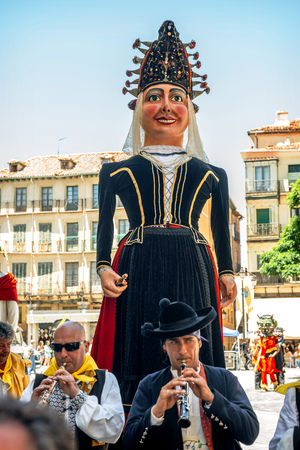 castilla: Segovia, Spain - June 29, 2014: Giants and big heads (Gigantes y Cabezudos) in Segovia Festival on June 29, 2014 in Segovia, Spain