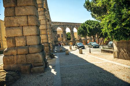 aqueduct: The famous ancient aqueduct in Segovia, Spain Stock Photo