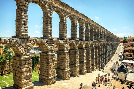 aqueduct: The famous ancient aqueduct in Segovia, Spain Editorial