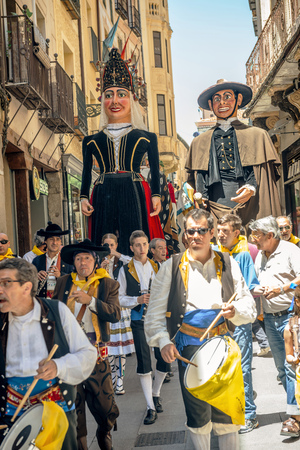 patron of europe: Segovia, Spain - June 29, 2014: Giants and big heads (Gigantes y Cabezudos) in Segovia Festival on June 29, 2014 in Segovia, Spain