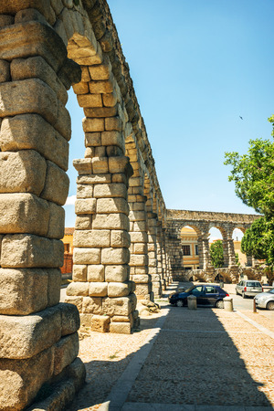 castilla: The famous ancient aqueduct in Segovia, Spain Stock Photo