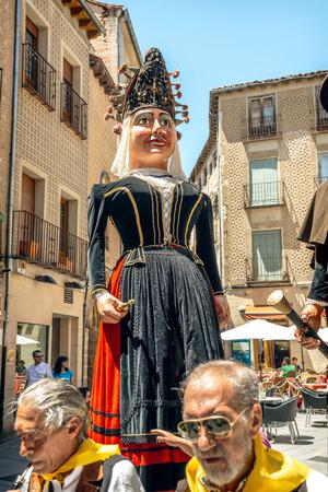 fiesta popular: Segovia, Spain - June 29, 2014: Giants and big heads (Gigantes y Cabezudos) in Segovia Festival on June 29, 2014 in Segovia, Spain