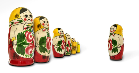 nested: Matryoshka dolls angry with one of them