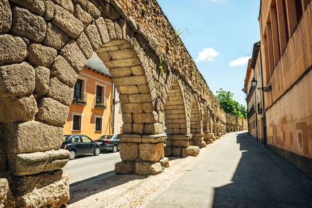 segovia: The famous ancient aqueduct in Segovia, Spain Stock Photo