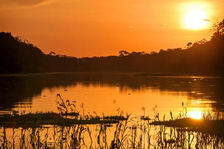 peru: River in the Amazon Rainforest at dusk, Peru, South America Stock Photo