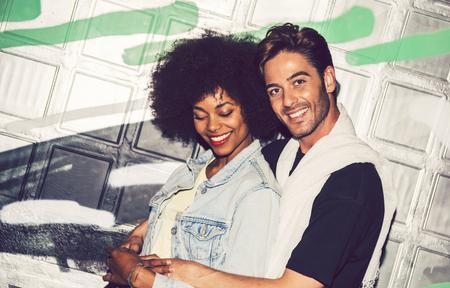 interracial couple: Interracial couple showing their love